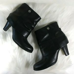 BCBG Black Genuine Leather Ankle Boots Block Heels